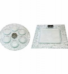 Seder Plate and Matzah Plate Set Glass and Pewter